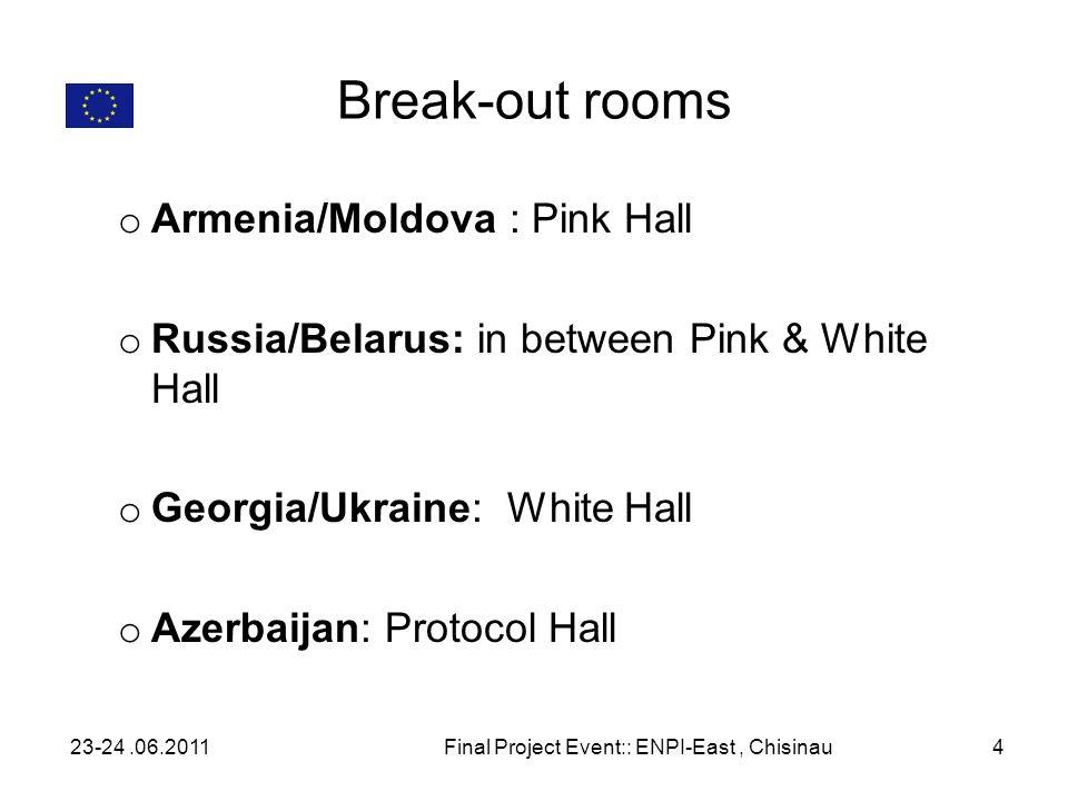 Break-out rooms o Armenia/Moldova : Pink Hall o Russia/Belarus: in between Pink & White Hall o Georgia/Ukraine: White Hall o Azerbaijan: Protocol Hall