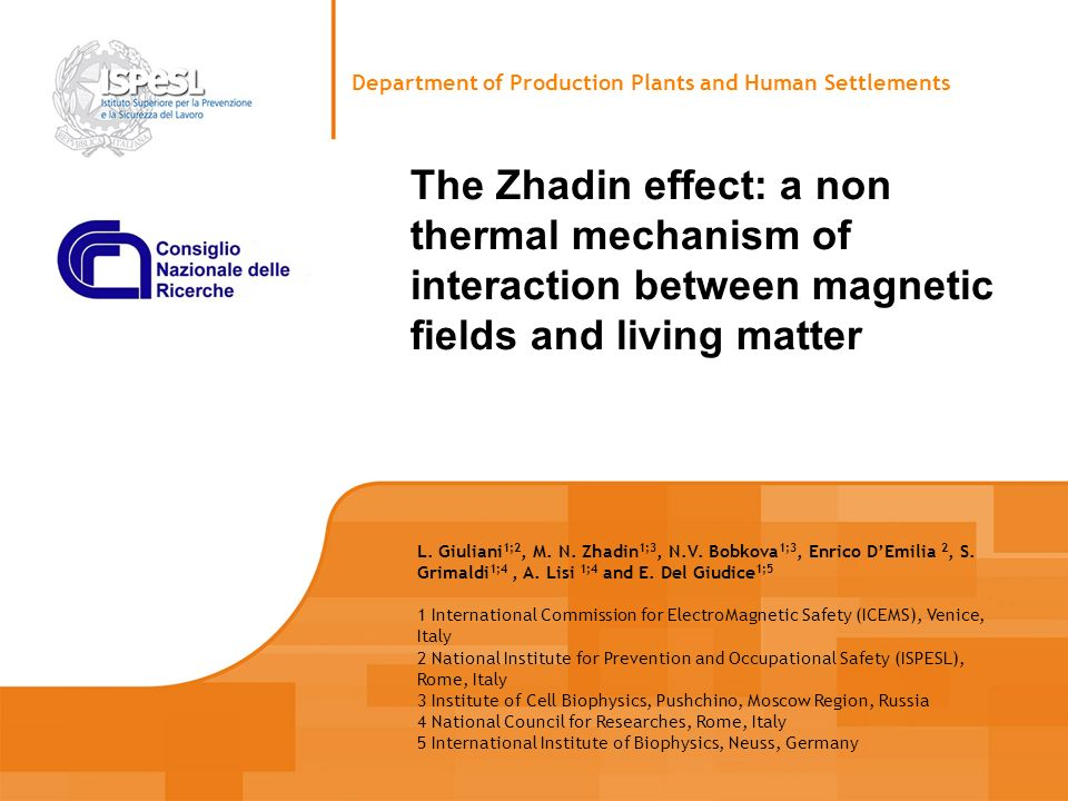 The Zhadin effect: a non thermal mechanism of interaction between magnetic fields and living matter Department of Production Plants and Human Settleme