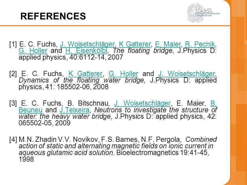 REFERENCES [1] E. C. Fuchs, J. Woisetschläger, K Gatterer, E. Maier, R. Pecnik, G. Holler and H. Eisenkölbl, The floating bridge, J.Physics D: applied
