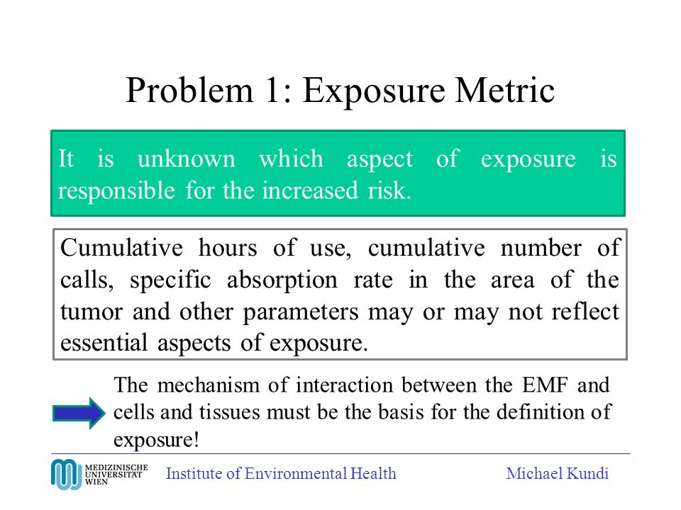 Institute of Environmental HealthMichael Kundi Problem 1: Exposure Metric It is unknown which aspect of exposure is responsible for the increased risk