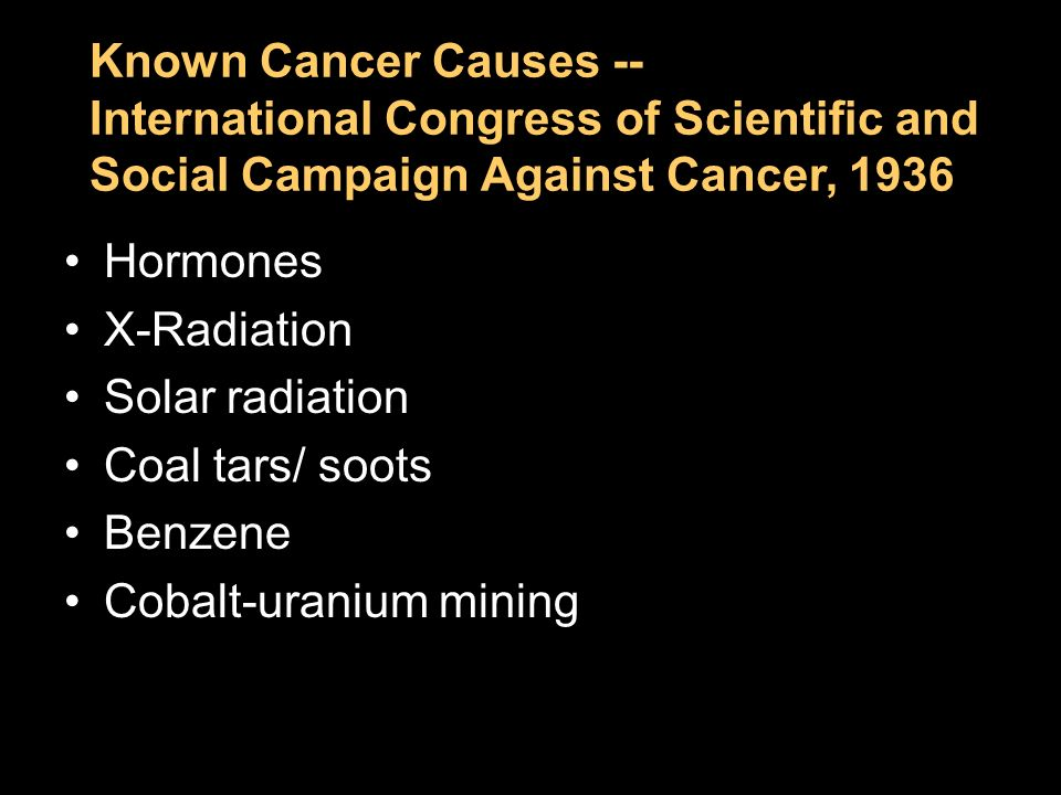 Chapter 2 Known Cancer Causes -- International Congress of Scientific and Social Campaign Against Cancer, 1936 Hormones X-Radiation Solar radiation Co