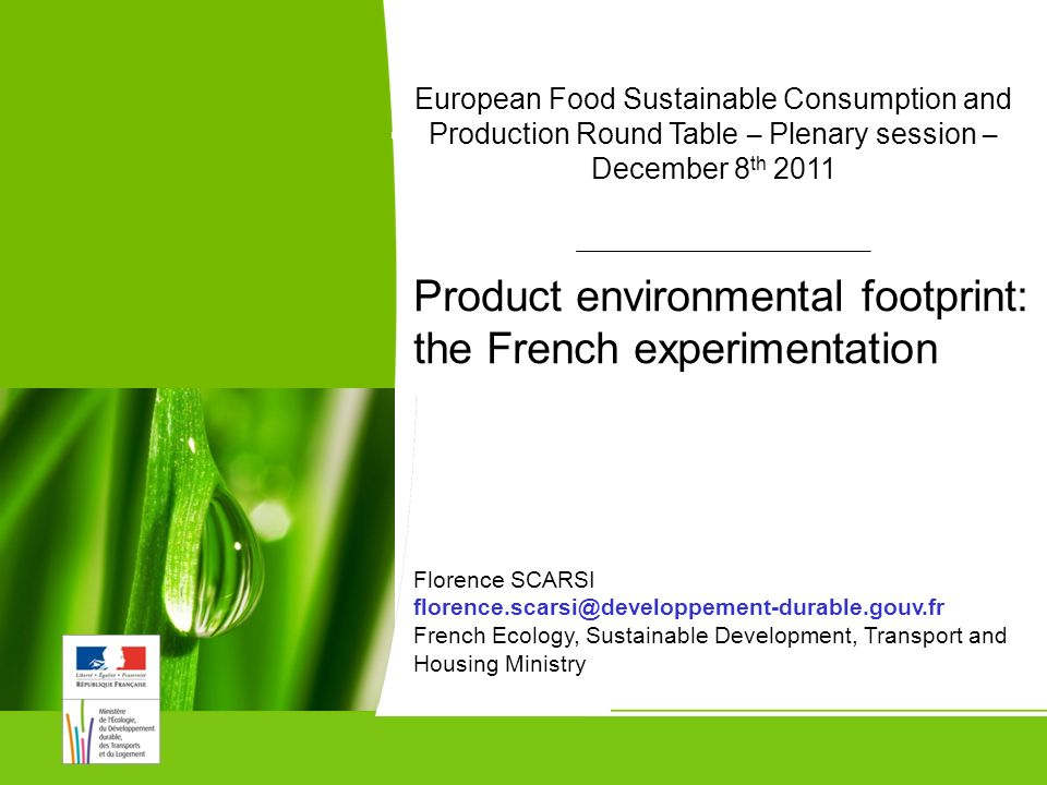Food SCP Round Table – Plenary session – December 8th 1 European Food Sustainable Consumption and Production Round Table – Plenary session – December