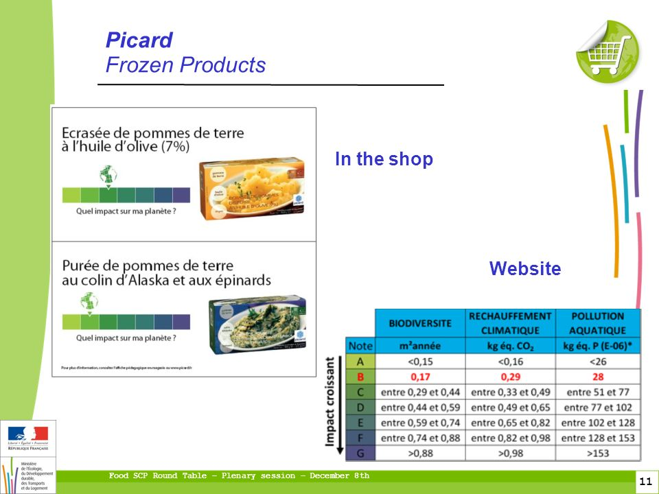 Food SCP Round Table – Plenary session – December 8th 11 fioul gaz Picard Frozen Products In the shop Website