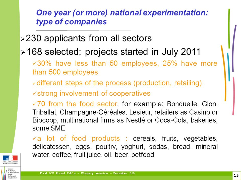 Food SCP Round Table – Plenary session – December 8th 15 230 applicants from all sectors 168 selected; projects started in July 2011 30% have less than 50 employees, 25% have more than 500 employees different steps of the process (production, retailing) strong involvement of cooperatives 70 from the food sector, for example: Bonduelle, Glon, Triballat, Champagne-Céréales, Lesieur, retailers as Casino or Biocoop, multinational firms as Nestlé or Coca-Cola, bakeries, some SME a lot of food products : cereals, fruits, vegetables, delicatessen, eggs, poultry, yoghurt, sodas, bread, mineral water, coffee, fruit juice, oil, beer, petfood One year (or more) national experimentation: type of companies