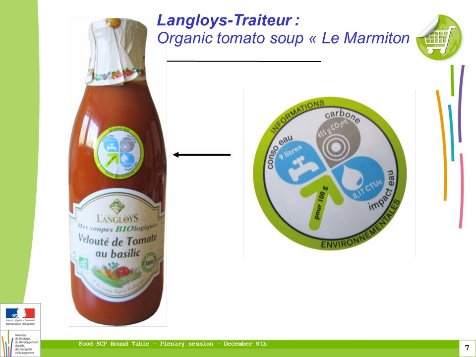 Food SCP Round Table – Plenary session – December 8th 7 fioul gaz Langloys-Traiteur : Organic tomato soup « Le Marmiton »