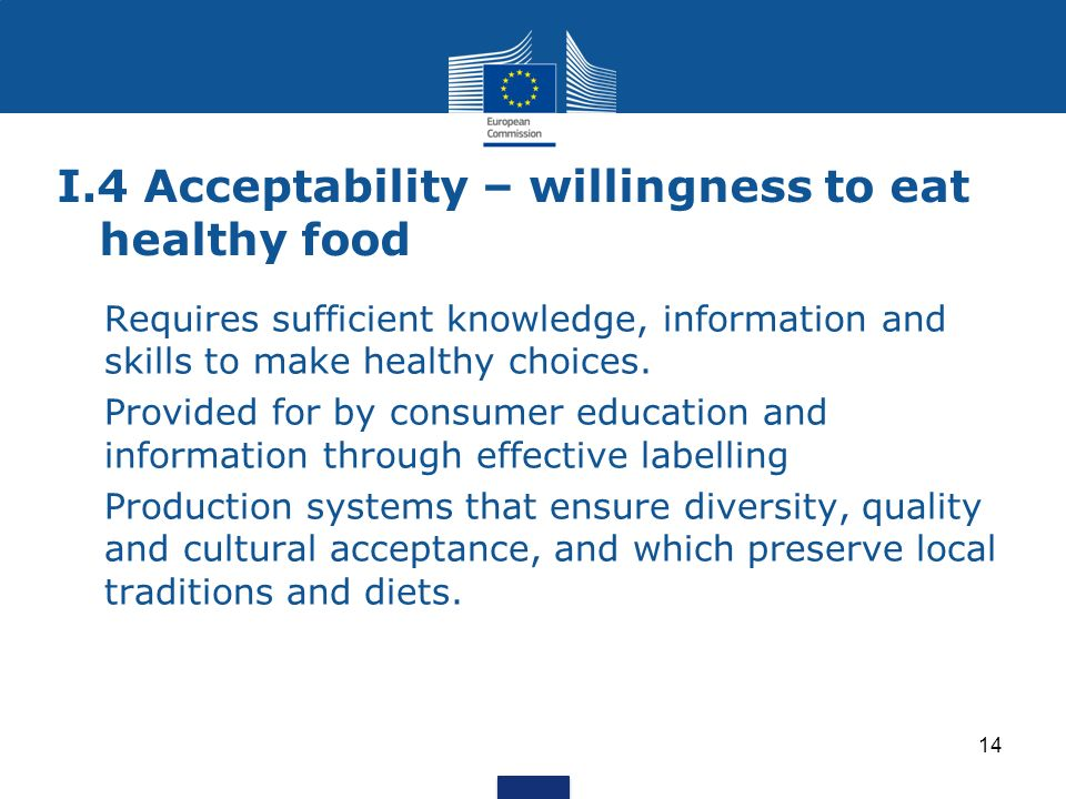 I.4 Acceptability – willingness to eat healthy food Requires sufficient knowledge, information and skills to make healthy choices.