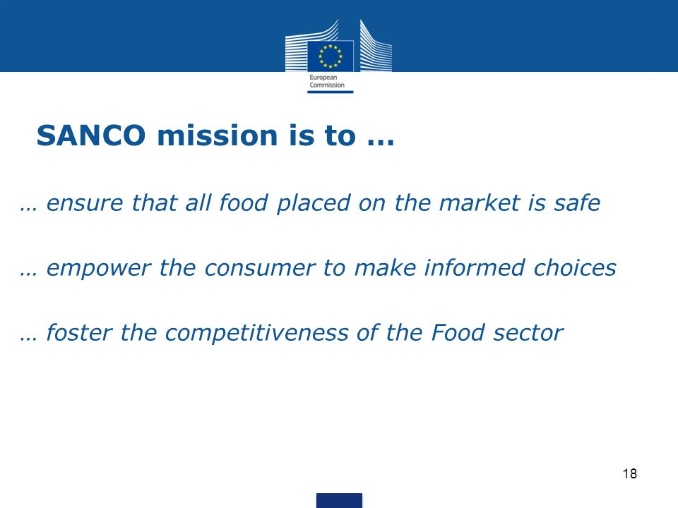 SANCO mission is to … 18 … ensure that all food placed on the market is safe … empower the consumer to make informed choices … foster the competitiveness of the Food sector
