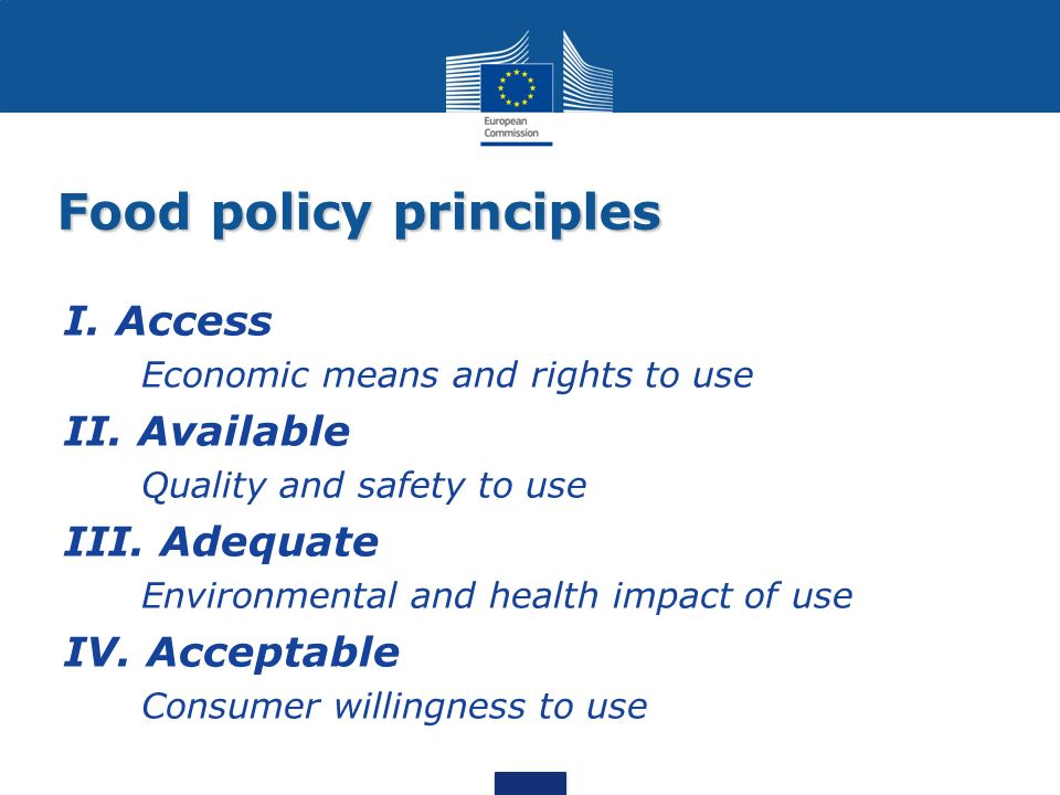 Food policy principles I.Access Economic means and rights to use II.