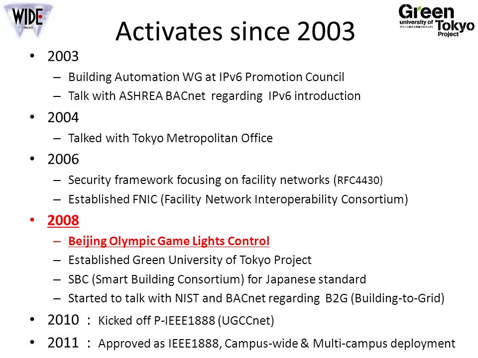 Activates since 2003 2003 – Building Automation WG at IPv6 Promotion Council – Talk with ASHREA BACnet regarding IPv6 introduction 2004 – Talked with