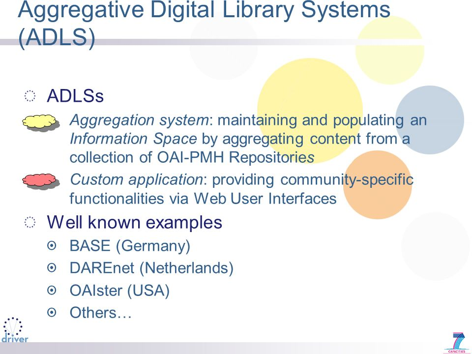 Aggregative Digital Library Systems (ADLS) ADLSs Aggregation system: maintaining and populating an Information Space by aggregating content from a collection of OAI-PMH Repositories Custom application: providing community-specific functionalities via Web User Interfaces Well known examples BASE (Germany) DAREnet (Netherlands) OAIster (USA) Others…