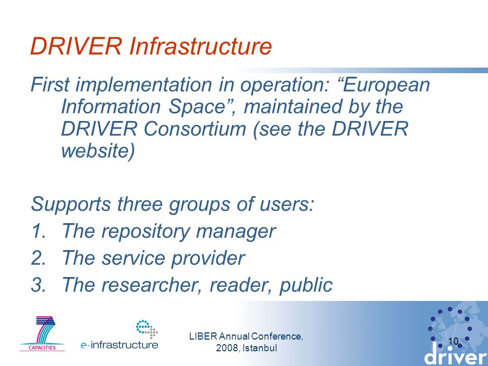 LIBER Annual Conference, 2008, Istanbul 10 DRIVER Infrastructure First implementation in operation: European Information Space, maintained by the DRIVER Consortium (see the DRIVER website) Supports three groups of users: 1.The repository manager 2.The service provider 3.The researcher, reader, public