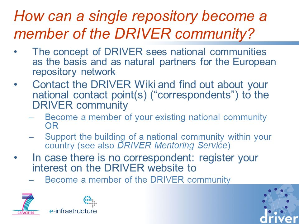 How can a single repository become a member of the DRIVER community.
