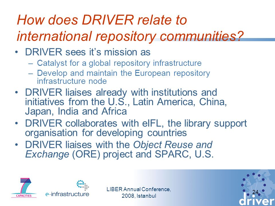 LIBER Annual Conference, 2008, Istanbul 24 How does DRIVER relate to international repository communities.