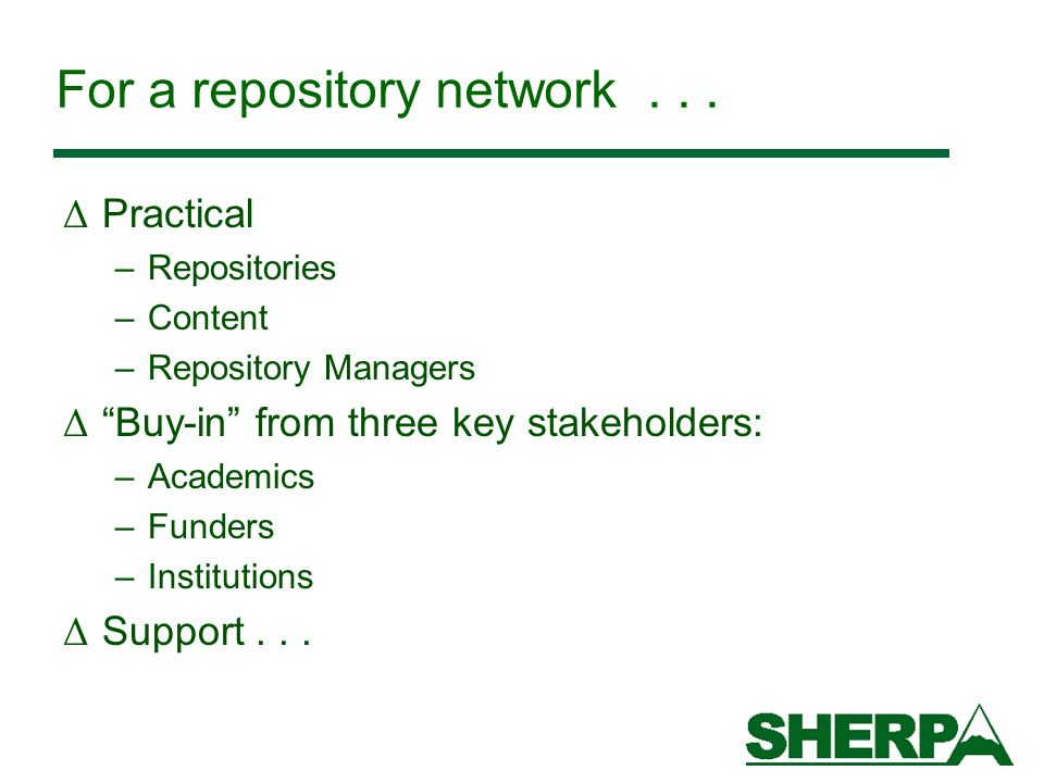 For a repository network...