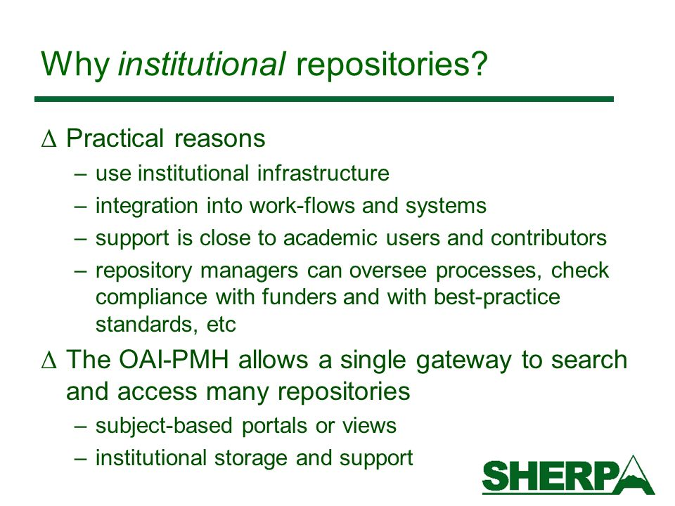 Why institutional repositories.
