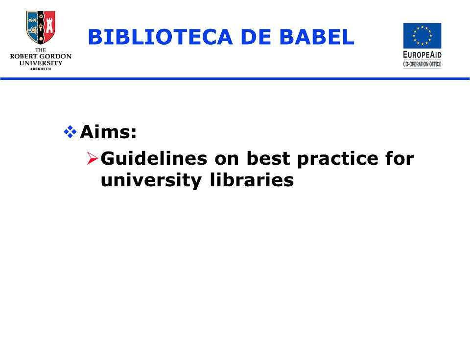 BIBLIOTECA DE BABEL Aims: Guidelines on best practice for university libraries