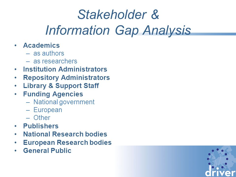 Stakeholder & Information Gap Analysis Academics –as authors –as researchers Institution Administrators Repository Administrators Library & Support Staff Funding Agencies –National government –European –Other Publishers National Research bodies European Research bodies General Public