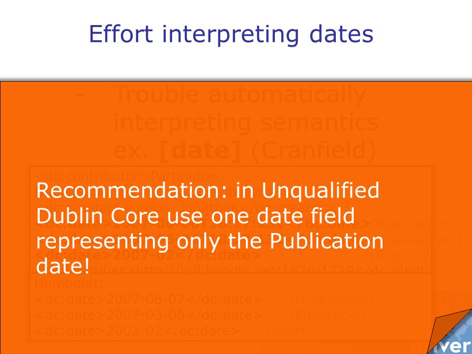 -Trouble automatically interpreting semantics ex. [date] (Cranfield) Effort interpreting dates Partington, David(supervisor) Lupson, Jonathan 2007-06-