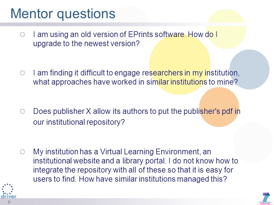 6 Mentor questions I am using an old version of EPrints software.