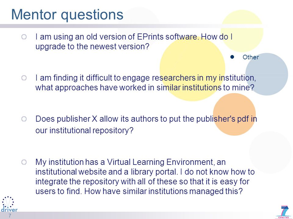 7 Mentor questions I am using an old version of EPrints software.