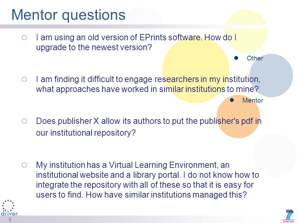 8 Mentor questions I am using an old version of EPrints software.