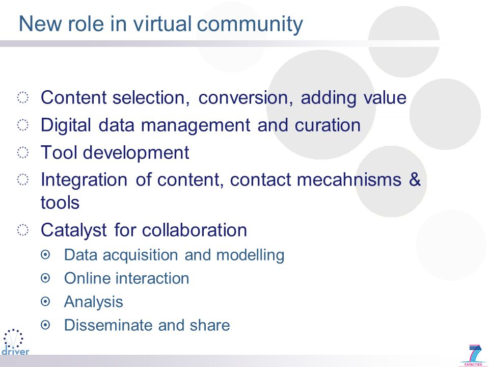 New role in virtual community Content selection, conversion, adding value Digital data management and curation Tool development Integration of content