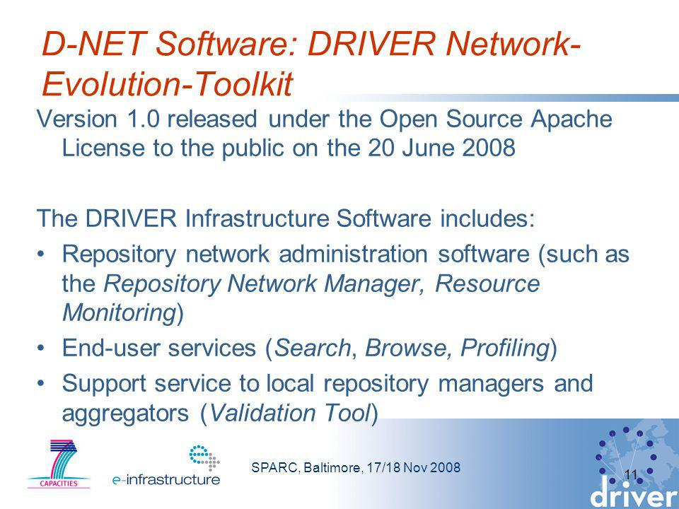 SPARC, Baltimore, 17/18 Nov 2008 11 D-NET Software: DRIVER Network- Evolution-Toolkit Version 1.0 released under the Open Source Apache License to the