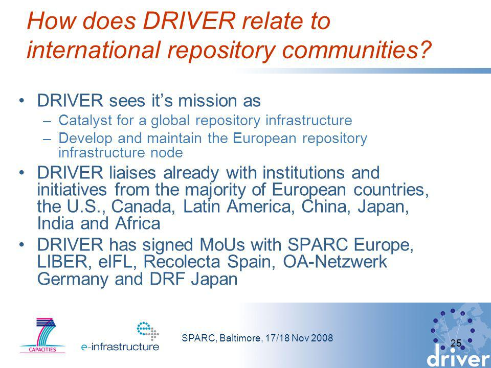 SPARC, Baltimore, 17/18 Nov 2008 25 How does DRIVER relate to international repository communities.