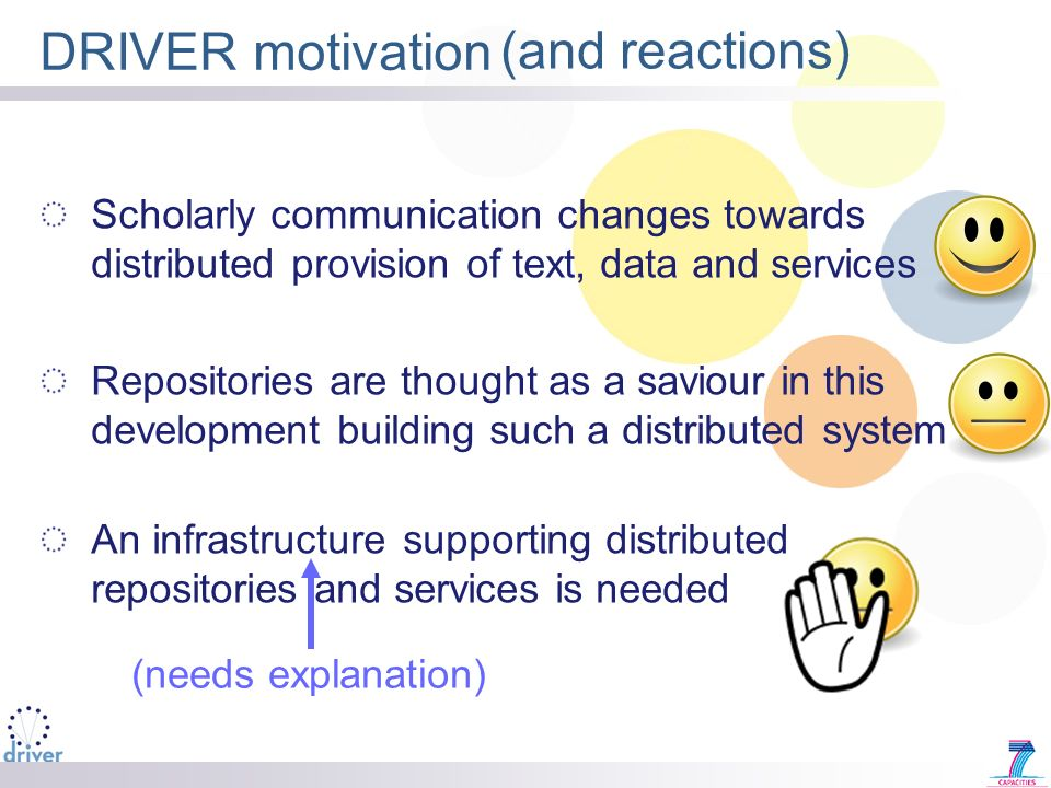 DRIVER motivation Scholarly communication changes towards distributed provision of text, data and services Repositories are thought as a saviour in this development building such a distributed system An infrastructure supporting distributed repositories and services is needed (and reactions) (needs explanation)
