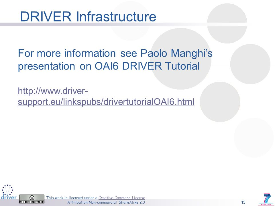 15 This work is licensed under a Creative Commons License Attribution Non-commercial ShareAlike 2.0Creative Commons License 15 For more information see Paolo Manghis presentation on OAI6 DRIVER Tutorial http://www.driver- support.eu/linkspubs/drivertutorialOAI6.html DRIVER Infrastructure