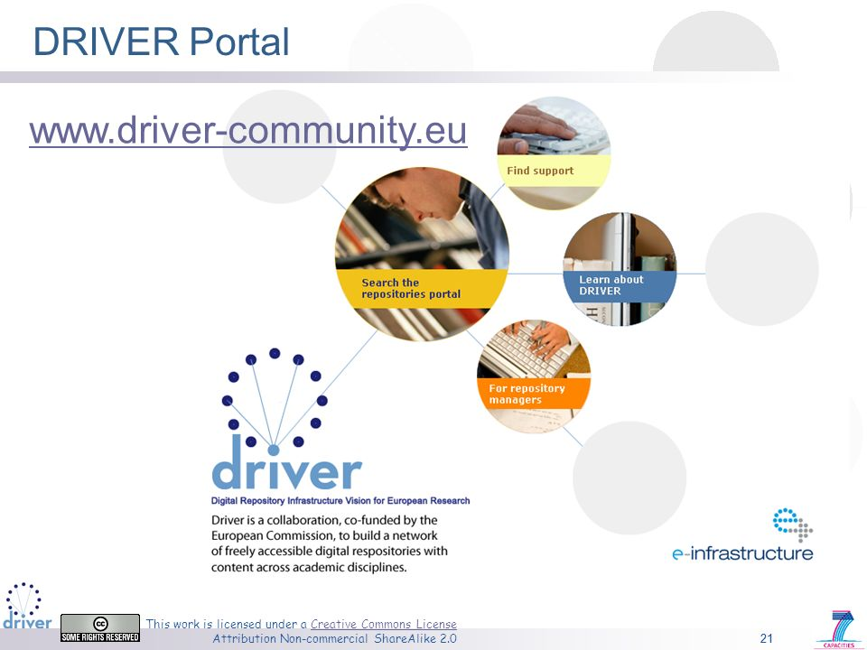 21 This work is licensed under a Creative Commons License Attribution Non-commercial ShareAlike 2.0Creative Commons License 21 DRIVER Portal www.driver-community.eu