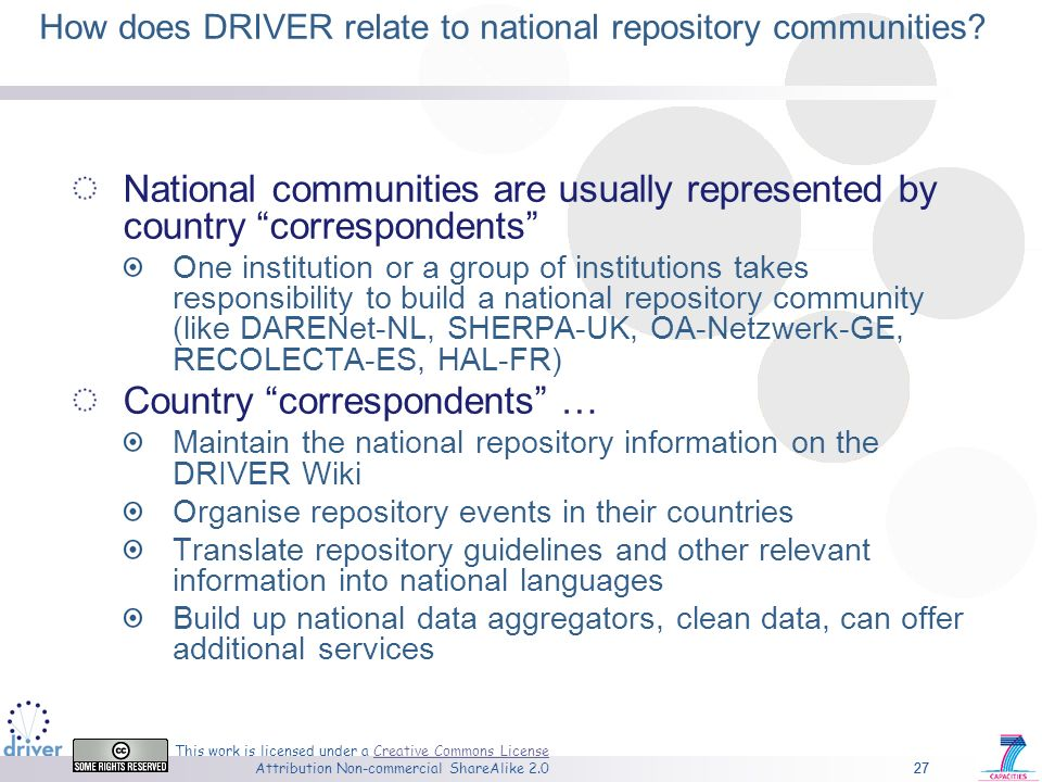 27 This work is licensed under a Creative Commons License Attribution Non-commercial ShareAlike 2.0Creative Commons License 27 How does DRIVER relate to national repository communities.