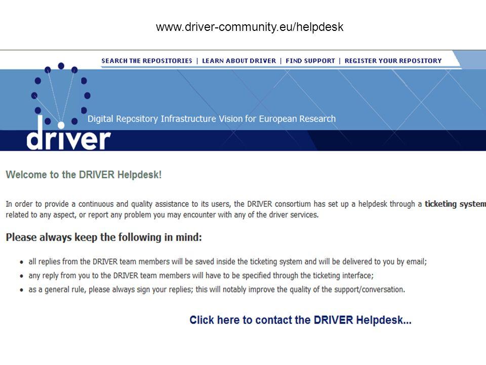 . www.driver-community.eu/helpdesk