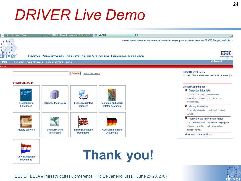 24 BELIEF-EELA e-Infrastructures Conference - Rio De Janeiro, Brazil, June 25-28, 2007 DRIVER Live Demo Thank you!