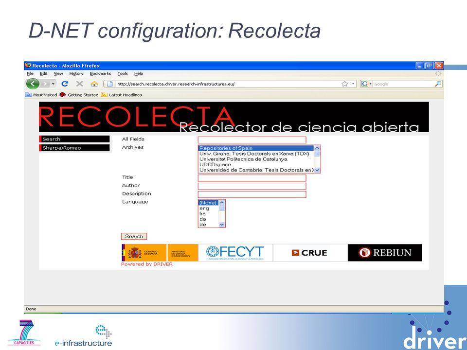 D-NET configuration: Recolecta
