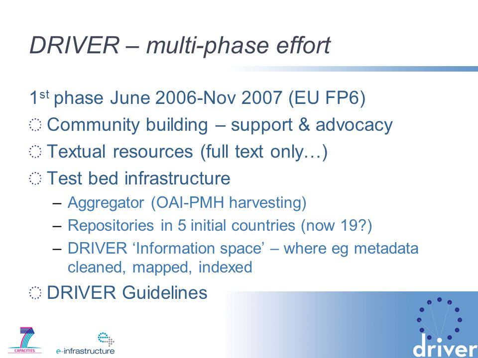 DRIVER – multi-phase effort 1 st phase June 2006-Nov 2007 (EU FP6) Community building – support & advocacy Textual resources (full text only…) Test bed infrastructure –Aggregator (OAI-PMH harvesting) –Repositories in 5 initial countries (now 19 ) –DRIVER Information space – where eg metadata cleaned, mapped, indexed DRIVER Guidelines