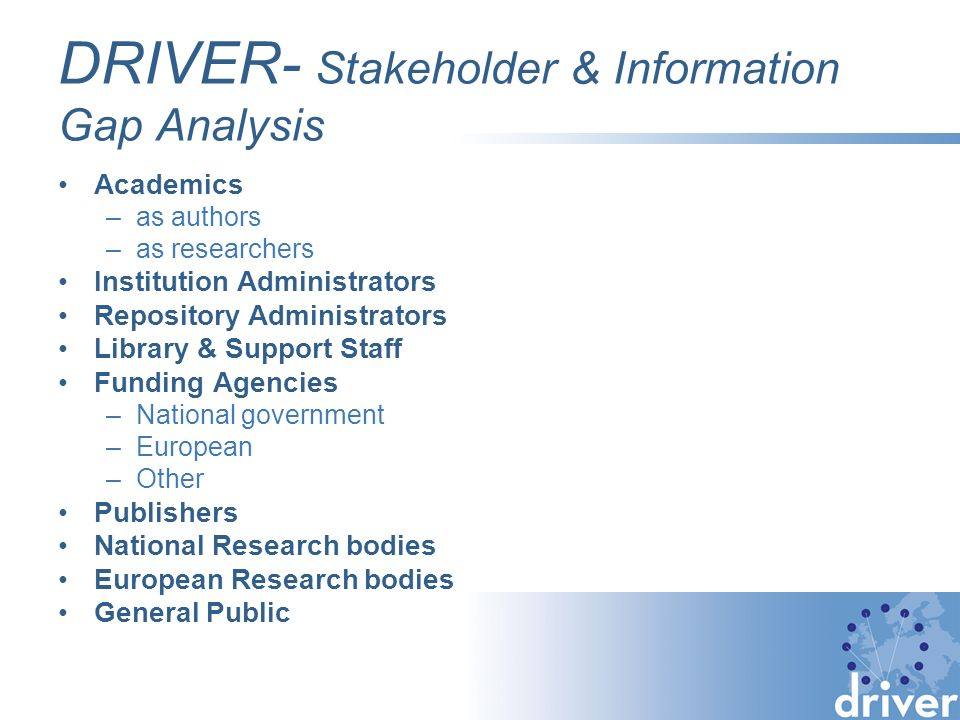 DRIVER- Stakeholder & Information Gap Analysis Academics –as authors –as researchers Institution Administrators Repository Administrators Library & Support Staff Funding Agencies –National government –European –Other Publishers National Research bodies European Research bodies General Public
