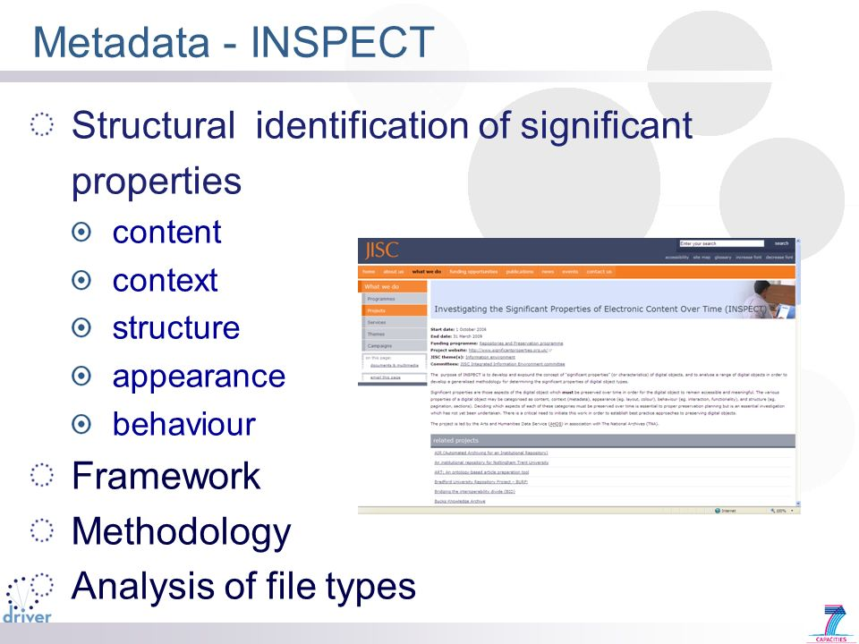 Metadata - INSPECT Structural identification of significant properties content context structure appearance behaviour Framework Methodology Analysis o