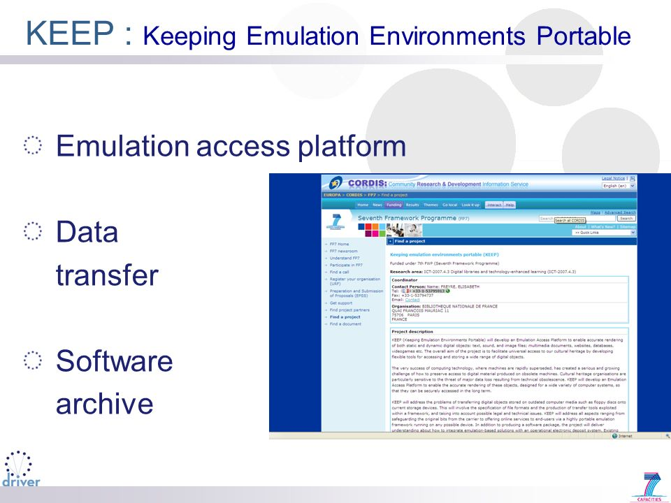 KEEP : Keeping Emulation Environments Portable Emulation access platform Data transfer Software archive