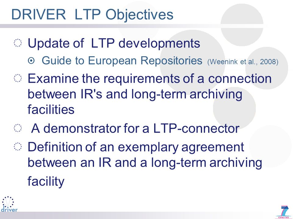 DRIVER LTP Objectives Update of LTP developments Guide to European Repositories (Weenink et al., 2008) Examine the requirements of a connection betwee