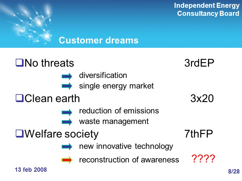 Independent Energy Consultancy Board 8/288/28 13 feb 2008 Customer dreams No threats3rdEP diversification single energy market Clean earth 3x20 reduction of emissions waste management Welfare society7thFP new innovative technology reconstruction of awareness ????