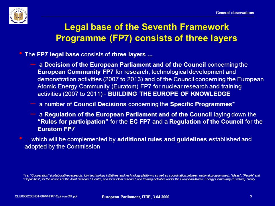 CLU000026EN01-06PP-FP7-Opinion-OR.ppt European Parliament, ITRE, 3.04.2006 3 Legal base of the Seventh Framework Programme (FP7) consists of three lay