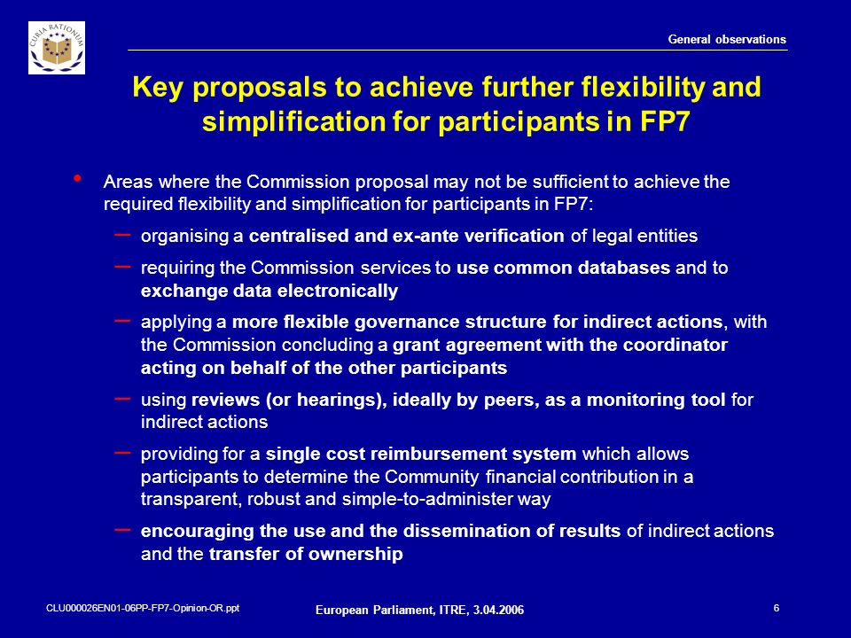CLU000026EN01-06PP-FP7-Opinion-OR.ppt European Parliament, ITRE, 3.04.2006 6 Key proposals to achieve further flexibility and simplification for parti