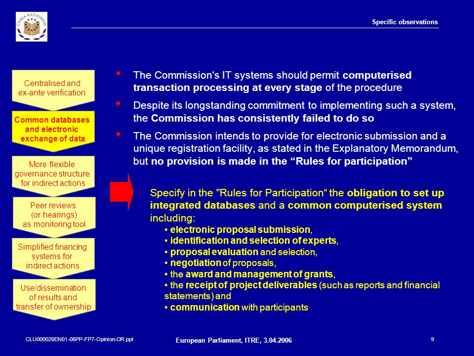 CLU000026EN01-06PP-FP7-Opinion-OR.ppt European Parliament, ITRE, 3.04.2006 10 Specific observations Traditionally, the Commission has used private law contracts to establish a legal relationship between and with participants The intention behind this approach was to strengthen the coordination between legal entities from different countries and to further multi-national cooperation As a result, participants often consider themselves to be contractors for the Commission or see Commission as an active partner in the consortium.