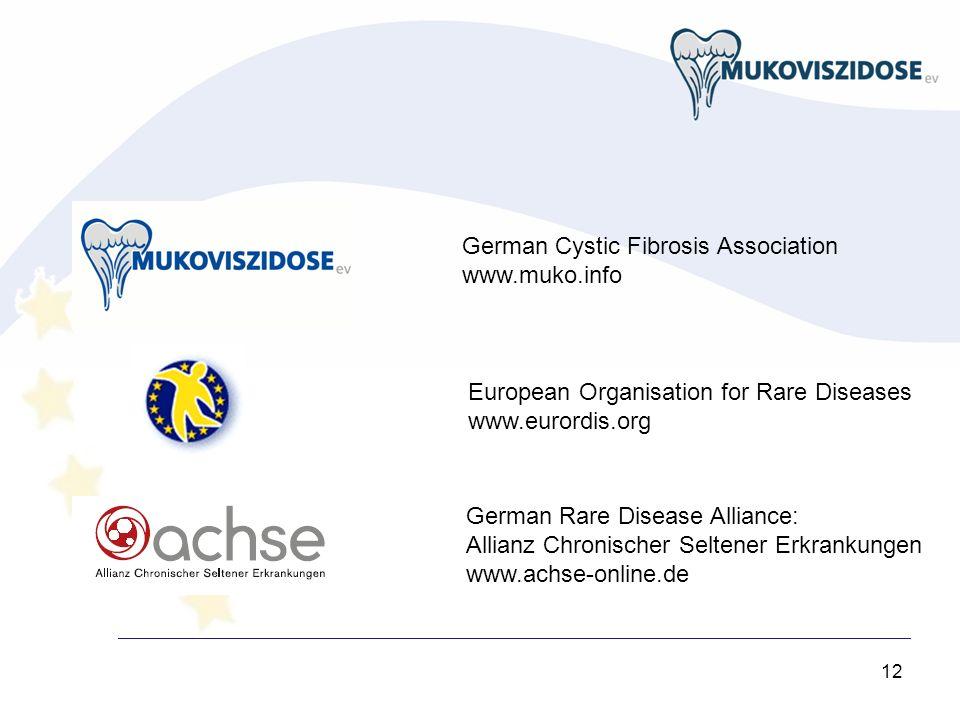 12 German Cystic Fibrosis Association www.muko.info European Organisation for Rare Diseases www.eurordis.org German Rare Disease Alliance: Allianz Chronischer Seltener Erkrankungen www.achse-online.de
