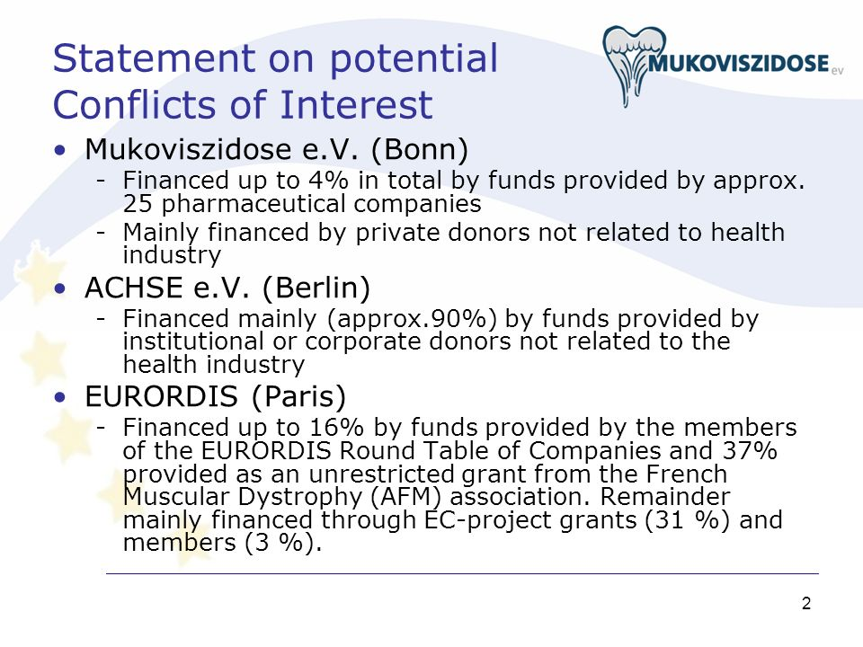 2 Statement on potential Conflicts of Interest Mukoviszidose e.V. (Bonn) -Financed up to 4% in total by funds provided by approx. 25 pharmaceutical co
