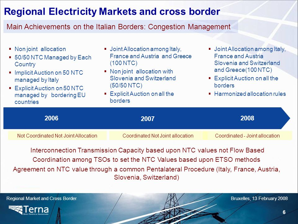 6 Regional Market and Cross BorderBruxelles, 13 February 2008 Non joint allocation 50/50 NTC Managed by Each Country Implicit Auction on 50 NTC managed by Italy Explicit Auction on 50 NTC managed by bordering EU countries 2007 20082006 Main Achievements on the Italian Borders: Congestion Management Joint Allocation among Italy, France and Austria and Greece (100 NTC) Non joint allocation with Slovenia and Switzerland (50/50 NTC) Explicit Auction on all the borders Joint Allocation among Italy, France and Austria Slovenia and Switzerland and Greece(100 NTC) Explicit Auction on all the borders Harmonized allocation rules Not Coordinated Not Joint AllocationCoordinated Not Joint allocationCoordinated - Joint allocation Interconnection Transmission Capacity based upon NTC values not Flow Based Coordination among TSOs to set the NTC Values based upon ETSO methods Agreement on NTC value through a common Pentalateral Procedure (Italy, France, Austria, Slovenia, Switzerland) Regional Electricity Markets and cross border