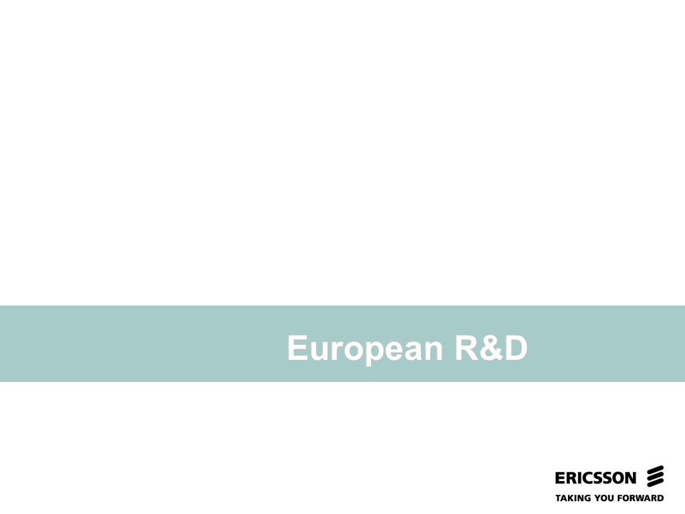 Slide title In CAPITALS 50 pt Slide subtitle 32 pt European R&D