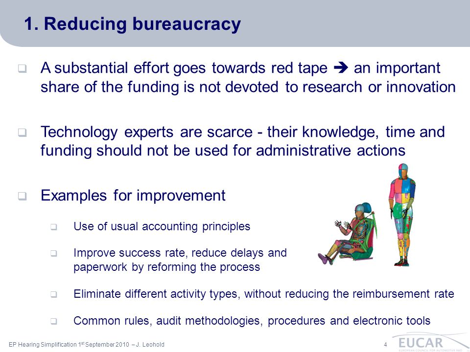ac 4EP Hearing Simplification 1 st September 2010 – J. Leohold 1. Reducing bureaucracy A substantial effort goes towards red tape an important share o