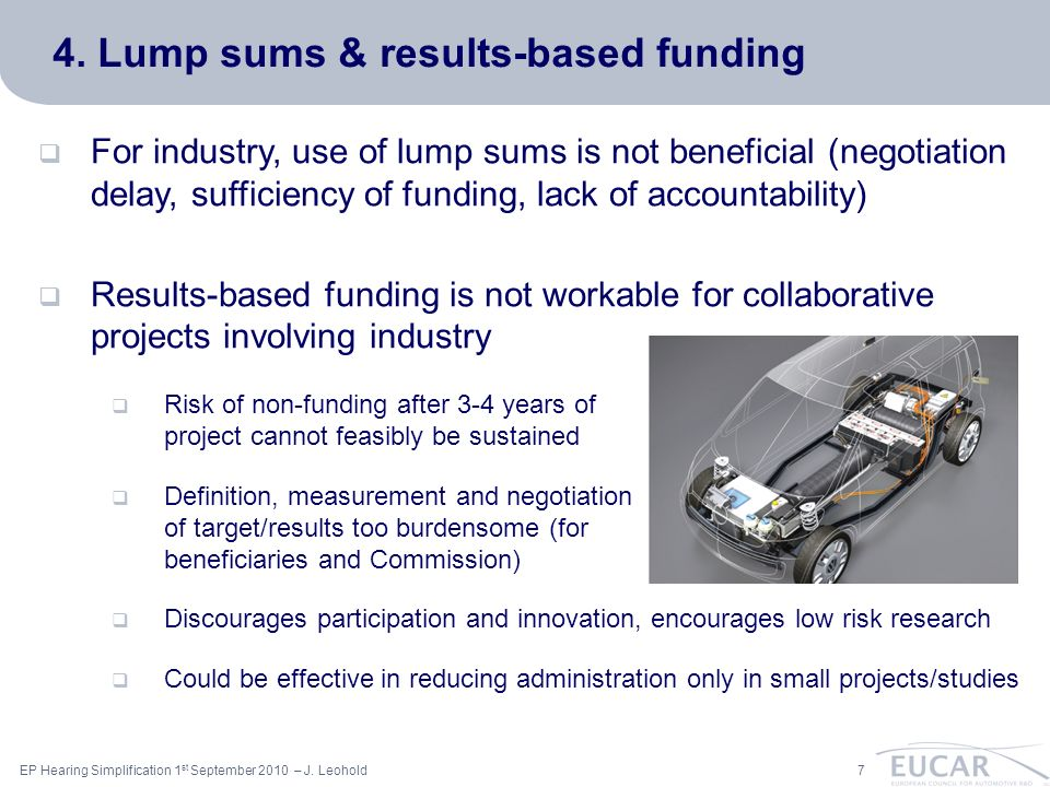 ac 7EP Hearing Simplification 1 st September 2010 – J. Leohold 4. Lump sums & results-based funding For industry, use of lump sums is not beneficial (